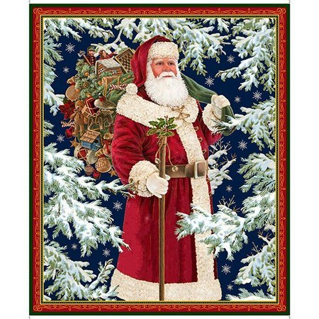 Christmas Eve Vintage Santa Fabric Panel - 36in